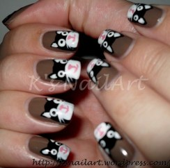Black Cats Nail Art
