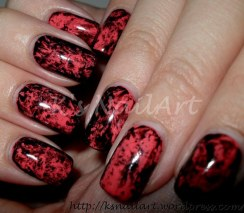 Halloween Saran Wrap Nails