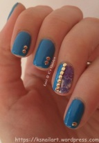 Blue Floral with Studs